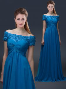 Floor Length Royal Blue Mother Of The Bride Dress Off The Shoulder Short Sleeves Lace Up