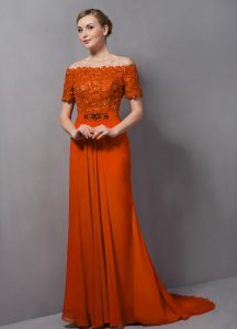 Short Sleeves Lace Zipper Mother Of The Bride Dress with Orange Sweep Train