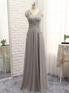 V-neck Sleeveless Mother Of The Bride Dress Floor Length Lace and Appliques Grey Chiffon