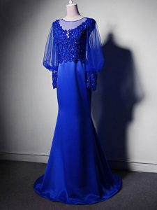 Royal Blue Elastic Woven Satin Clasp Handle Scoop Long Sleeves Mother Dresses Brush Train Beading and Lace and Appliques