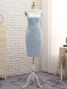 Extravagant Sleeveless Mini Length Lace and Appliques Zipper Mother Of The Bride Dress with Light Blue