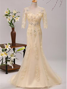 Champagne Tulle Lace Up Evening Dresses 3 4 Length Sleeve Brush Train Beading and Lace and Appliques