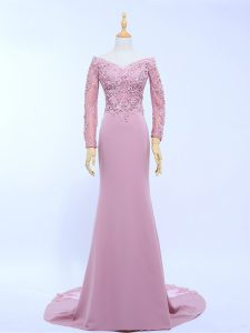 Lilac Long Sleeves Chiffon Brush Train Zipper Mother of the Bride Dress for Prom and Party and Beach