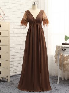 Stunning Floor Length Empire Sleeveless Brown Formal Dresses Zipper