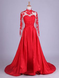 Modern Red Zipper Mother of Groom Dress Lace and Appliques Long Sleeves Brush Train