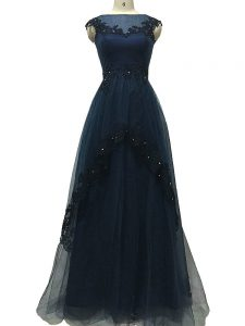 Custom Design Navy Blue Tulle Zipper Mother of Groom Dress Sleeveless Floor Length Lace and Appliques