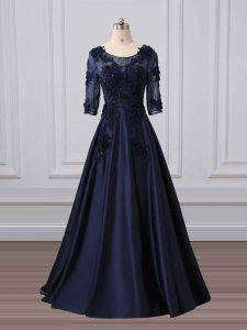 Satin Scoop 3 4 Length Sleeve Brush Train Zipper Lace and Appliques Mother Of The Bride Dress in Navy Blue