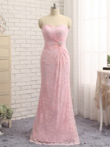 Admirable Beading and Lace and Appliques Evening Wear Baby Pink Zipper Sleeveless Floor Length