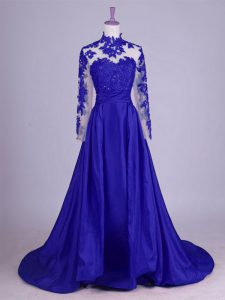 Flare High-neck Sleeveless Brush Train Lace Up Mother Of The Bride Dress Royal Blue Taffeta
