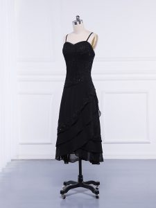 Black Column/Sheath Straps Sleeveless Chiffon Tea Length Zipper Lace and Appliques Mother Of The Bride Dress