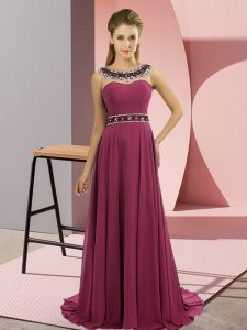 Superior Scoop Sleeveless Brush Train Zipper Evening Gowns Fuchsia Chiffon