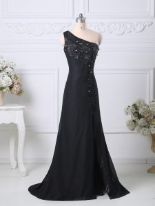 Black Mother of Bride Dresses Taffeta Brush Train Sleeveless Beading and Lace