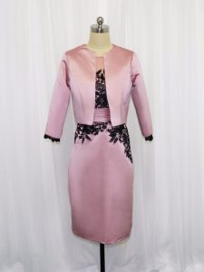 Scoop Long Sleeves Zipper Mother Of The Bride Dress Pink Satin