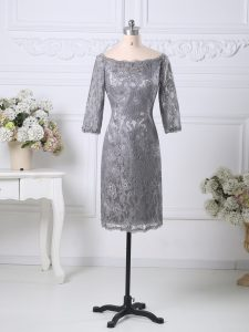 Fabulous Grey Half Sleeves Knee Length Lace Zipper Mother Dresses