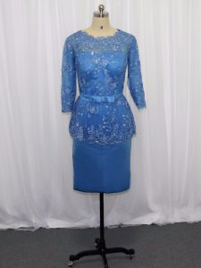 Deluxe Satin Long Sleeves Mini Length Mother Of The Bride Dress and Lace and Appliques
