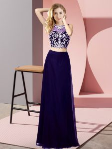 Floor Length Purple Mother Of The Bride Dress Scoop Sleeveless Backless