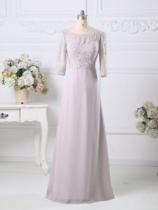 Traditional Pink Mother of Groom Dress Prom and Party and Military Ball with Beading and Embroidery Scoop 3 4 Length Sleeve Zipper