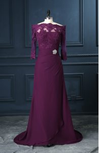 Purple Sleeveless Beading and Lace Zipper Mother Dresses