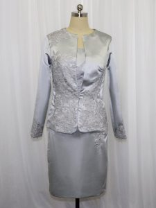 Sleeveless Satin Mini Length Zipper Mother Of The Bride Dress in Grey with Lace and Appliques