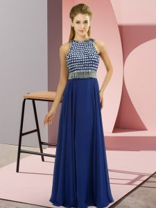 Chic Floor Length Side Zipper Mother of Groom Dress Blue for Prom and Party with Beading