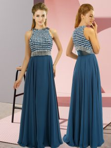 Teal Sleeveless Beading Floor Length Mother of the Bride Dress