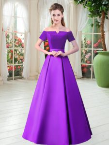 Wonderful Purple Mother Of The Bride Dress Prom and Party with Belt Off The Shoulder Short Sleeves Lace Up