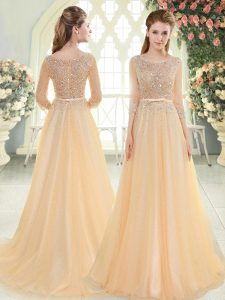 Sumptuous Champagne 3 4 Length Sleeve Tulle Sweep Train Zipper Mother of Bride Dresses for Prom and Party