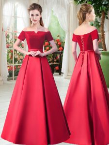 Flirting Floor Length Lace Up Mother of Bride Dresses Red for Prom and Party with Belt