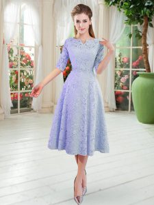 Flirting Half Sleeves Tea Length Mother of Groom Dress and Lace
