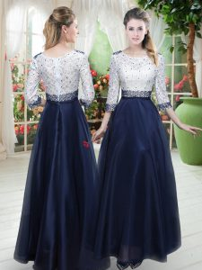 Gorgeous Scoop 3 4 Length Sleeve Organza Mother Dresses Beading and Lace Zipper