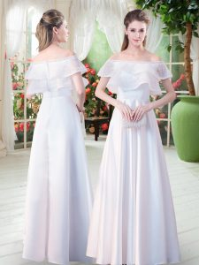 Custom Made White Empire Off The Shoulder Short Sleeves Satin Floor Length Zipper Lace Mother of the Bride Dress