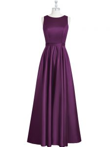 Popular Eggplant Purple Backless Mother of Bride Dresses Ruching and Pleated Sleeveless Floor Length