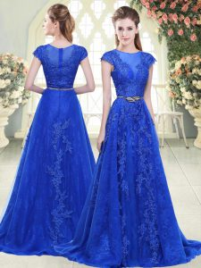 Blue Mother Dresses Tulle Sweep Train Cap Sleeves Lace and Appliques