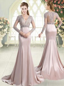 Luxurious Pink Long Sleeves Sweep Train Beading and Lace Mother of the Bride Dress