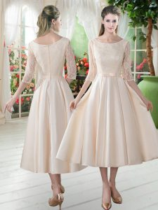 Most Popular Champagne Satin Zipper Scoop 3 4 Length Sleeve Tea Length Mother of Bride Dresses Lace