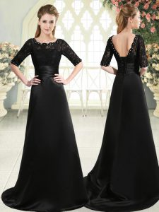 Black Mother of Groom Dress Prom and Party with Beading and Appliques Scalloped Half Sleeves Sweep Train Lace Up