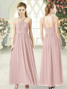 Pink Empire Chiffon Halter Top Sleeveless Ruching Ankle Length Zipper Mother Dresses