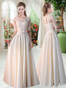 Nice Champagne Satin Lace Up Mother of the Bride Dress Half Sleeves Floor Length Lace
