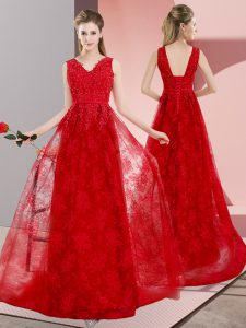 Red Lace Up V-neck Beading Mother Of The Bride Dress Lace Sleeveless Sweep Train