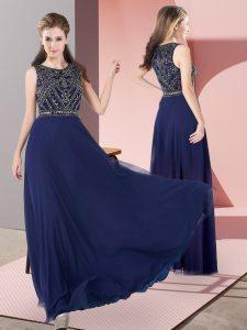 Comfortable Sleeveless Chiffon Floor Length Zipper Mother of Bride Dresses in Navy Blue with Beading