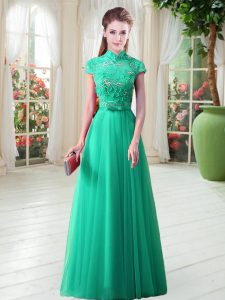 Appliques Mother of Groom Dress Green Lace Up Cap Sleeves Floor Length