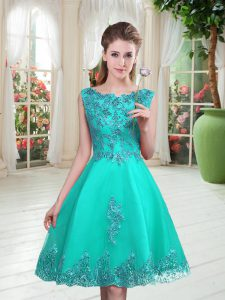 Beading and Appliques Mother of Groom Dress Turquoise Lace Up Sleeveless Knee Length