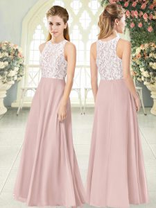 Traditional Pink Chiffon Zipper Scoop Sleeveless Floor Length Mother of Bride Dresses Lace