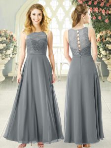 Fitting Ankle Length Empire Sleeveless Grey Mother of the Bride Dress Clasp Handle