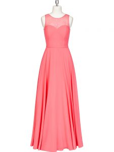 Scoop Sleeveless Zipper Mother of the Bride Dress Watermelon Red Chiffon