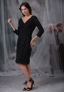 Hot Sale V-neck 3/4 Sleeves Short Black Dress for Bride Mother