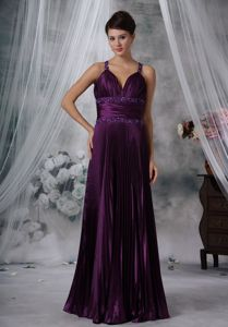Best Straps Floor-length Pleated Purple Mother of Bride Dresses