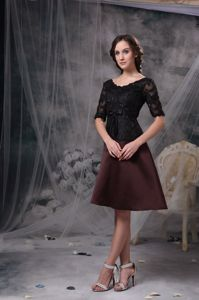 Modest Half Sleeves Black and Brown Mother of the Bride Outfits