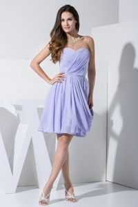 Sweetheart Knee-length Draped Lilac Mother of the Bride Dress