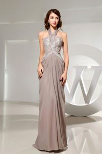 Low Price Halter Appliqued Long Mother of Bride Dress in Gray